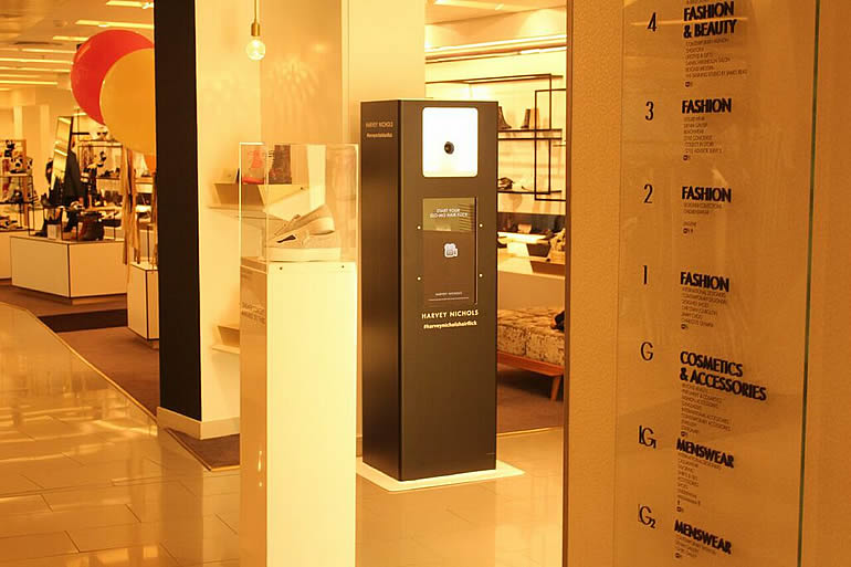 Custom designed photo booth pod for Harvey Nichols, London